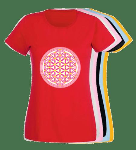 Floarea Vieții imprimata pe tricouri de dama